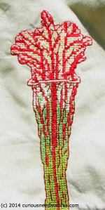 "Closeup of embroidery. Twice life sized, 3"" x 6"". Cotton on cotton."