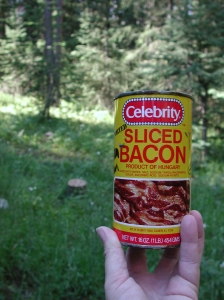This photo is irrelevant, although you should probably not bring a can of sliced bacon.